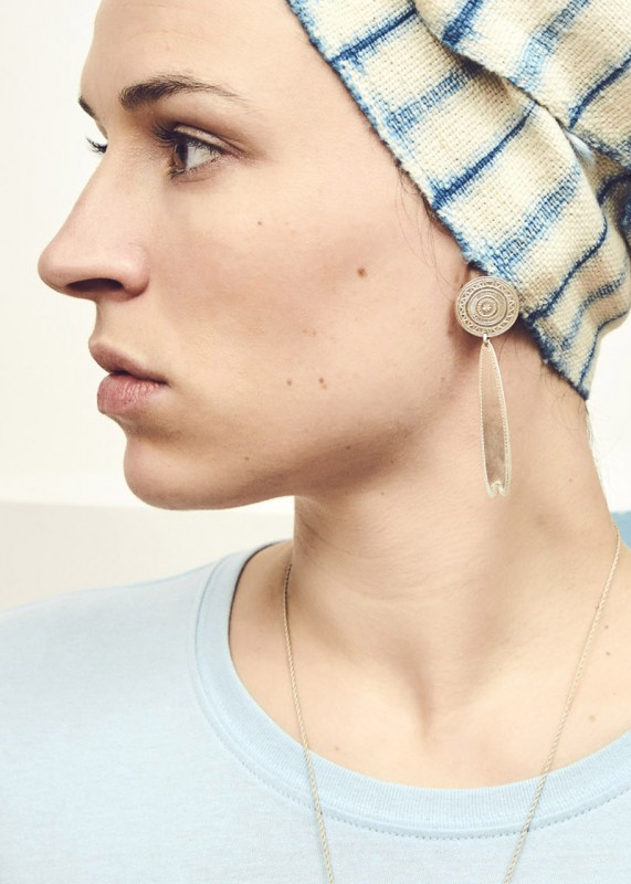 Ombre Claire Grandes Boucles Palmettes-Ohrringe silber