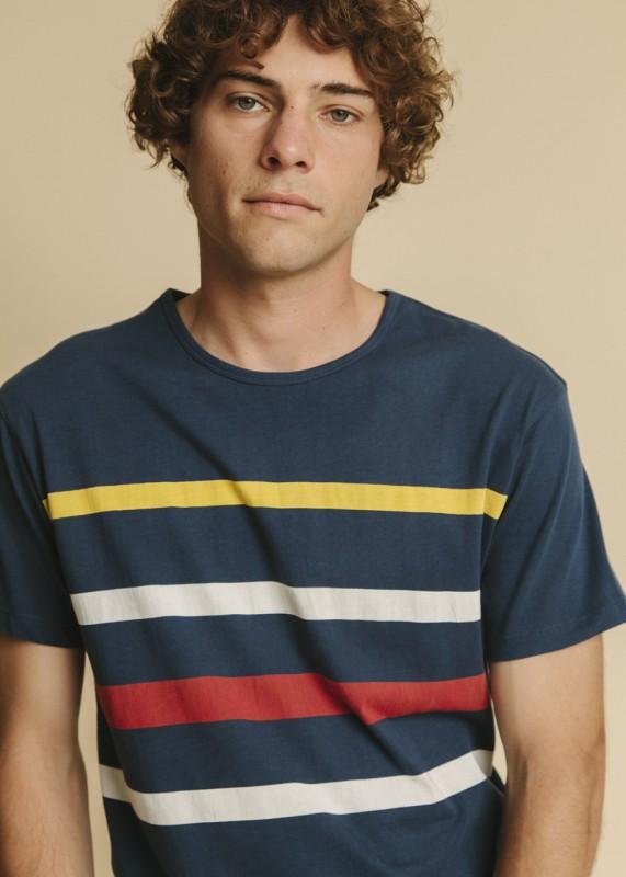 THINKING MU Rayas T-Shirt blau
