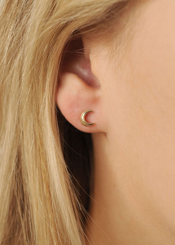 Wild Fawn 9ct Gold Star and Moon Stud Earrings