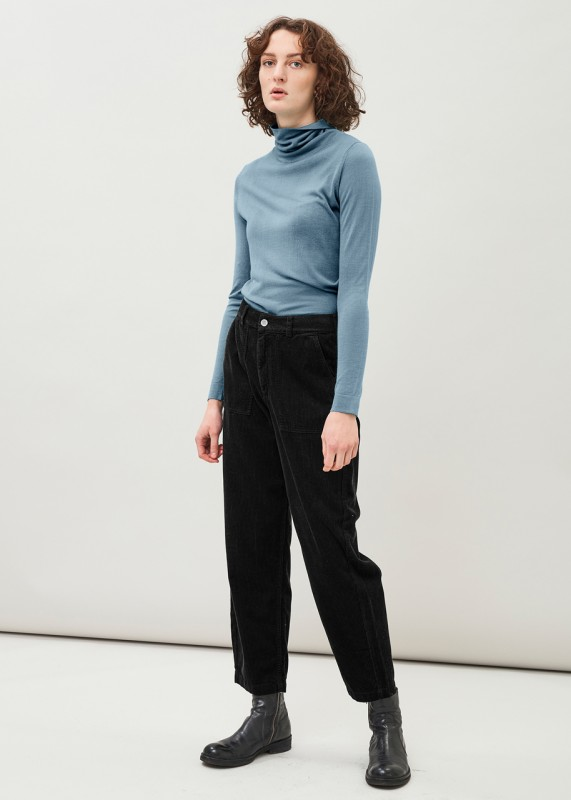 RUTH - Barrel leg organic cotton corduroy trousers, Black