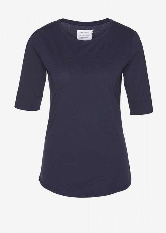 Janna, Basic T-Shirt, aus dunkelblauer Bio-Baumwolle