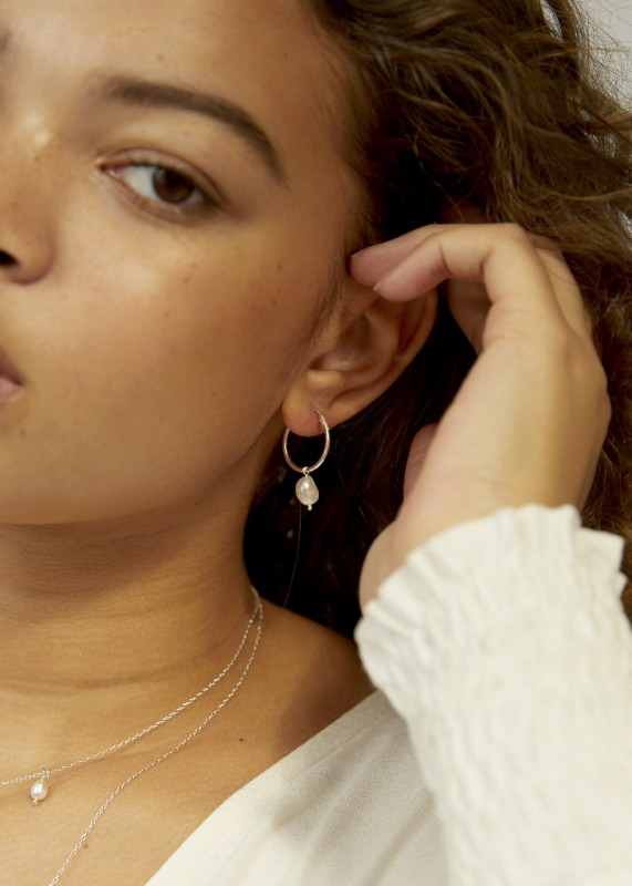 Wild Fawn Silver Pearl Hoops