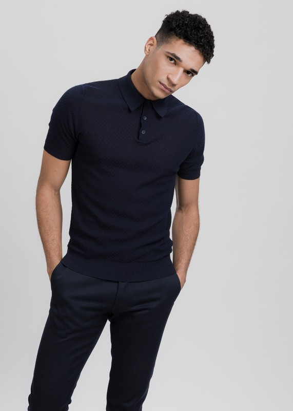 Funktionschnitt NUTO Polo Strickshirt navy