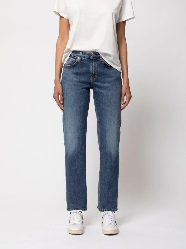Nudie Jeans - Mid Waist Jeans Straight Sally Dark Stone
