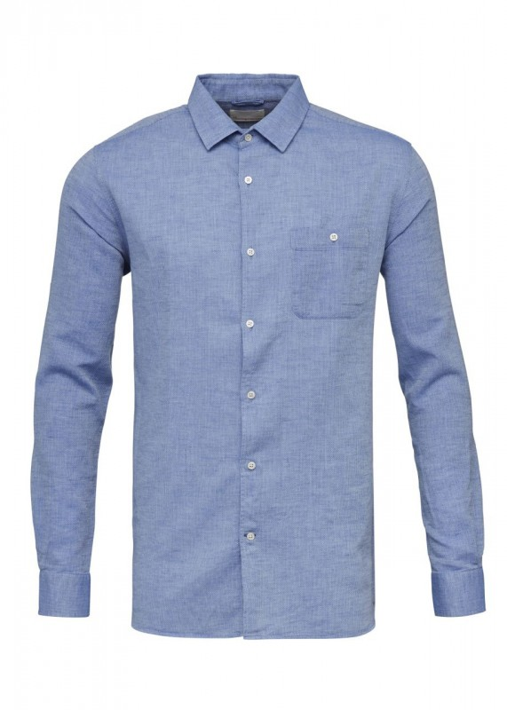 Knowledge Cotton Apparel strukturiertes Hemd blau