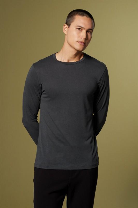 Funktionsschnitt / CORE - Langarmshirt aus Tencel, darkstone