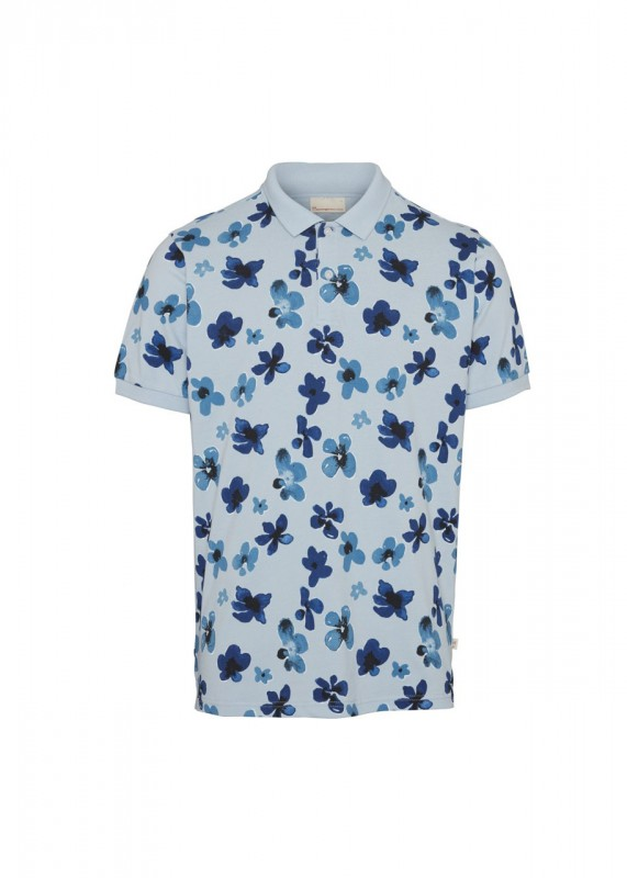 Knowledge Cotton Apparel Poloshirt Blumenprint blau
