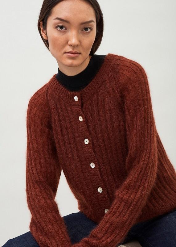 CLIO- Ribbed silk mohair cardigan