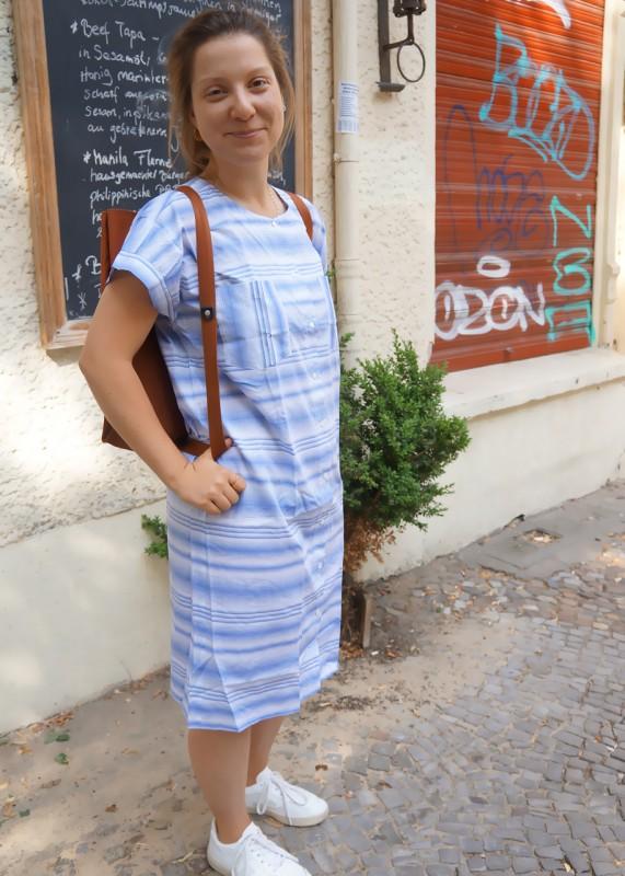 Maska Kleid Luna Stripes blau weiß