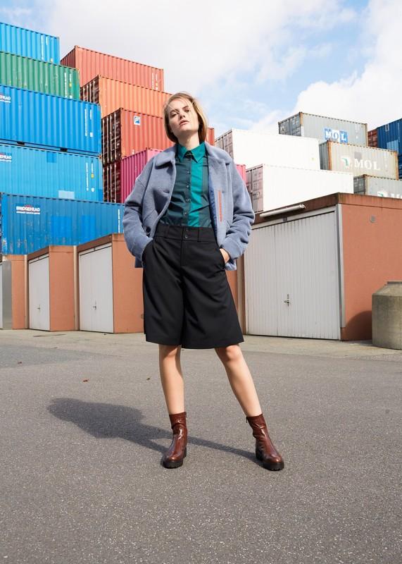 Hosenrock aus Schurwolle, schwarz
