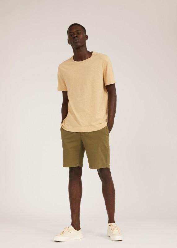 AANTONIO T-Shirt aus Biobaumwolle-Leinen Mix, dark sand