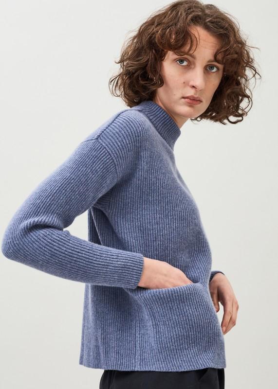 HELGA Wollpullover mit Taschen, daybreak blue