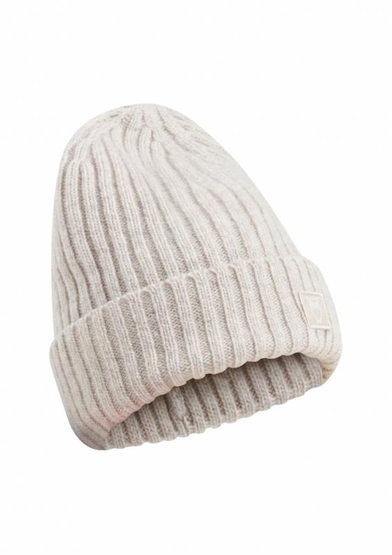 Mütze LEAF, organic wool beanie, nature melange