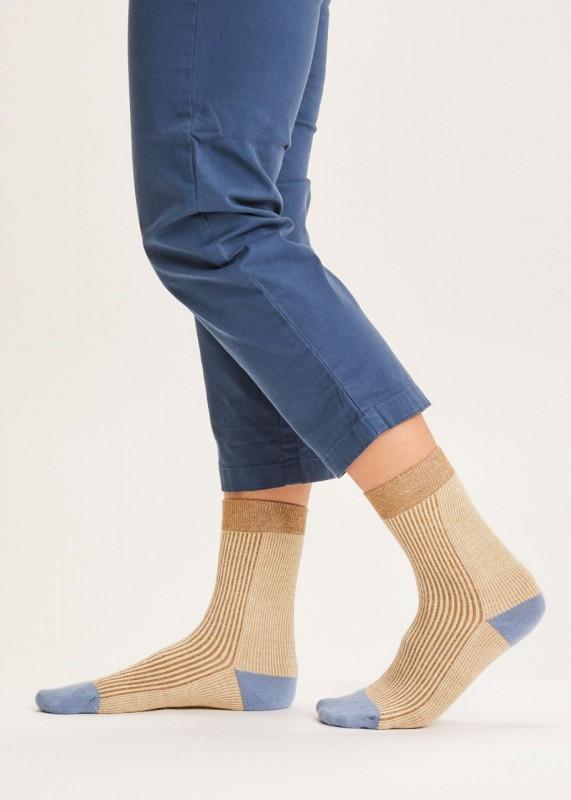DIANE colorblock rib socks - GOTS/Vegan, brown
