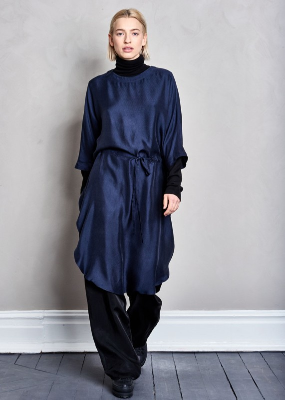Maska Wo Drawstring dress dark night blue