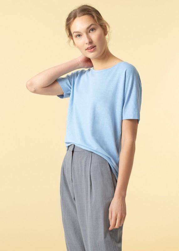 Funktionschnitt Batty T-Shirt Leinen hellblau