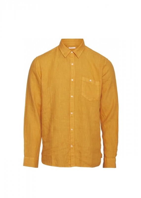 Knowledge Cotton Apparel Leinenhemd zennia yellow