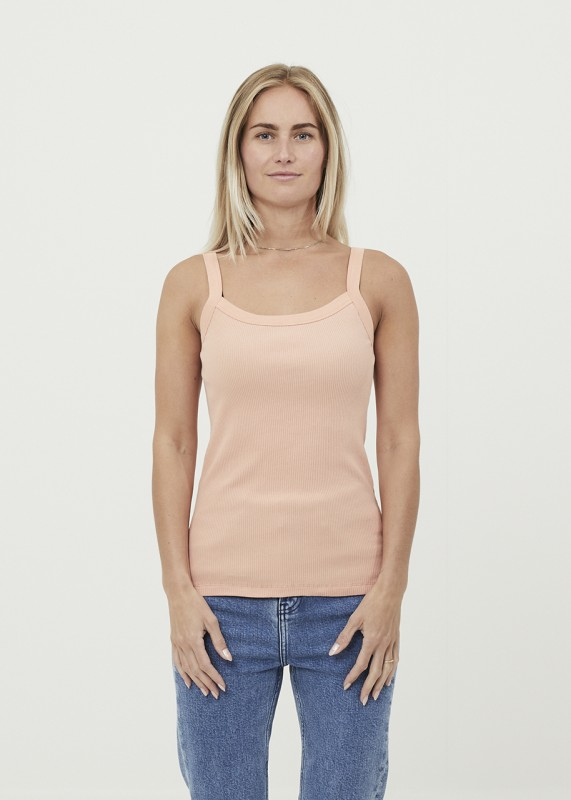 Knowledge Cotton Apparel ROSE strap top - GOTS/Vegan, shrimp