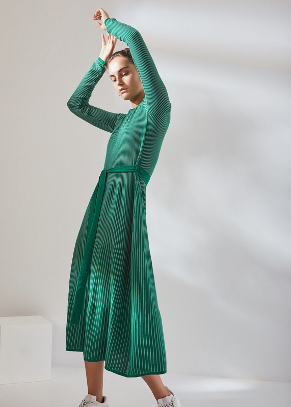Kowtow Long Sleeve Kaolin Dress evergreen