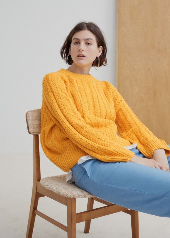Kowtow Cable Knit Sweater yellow