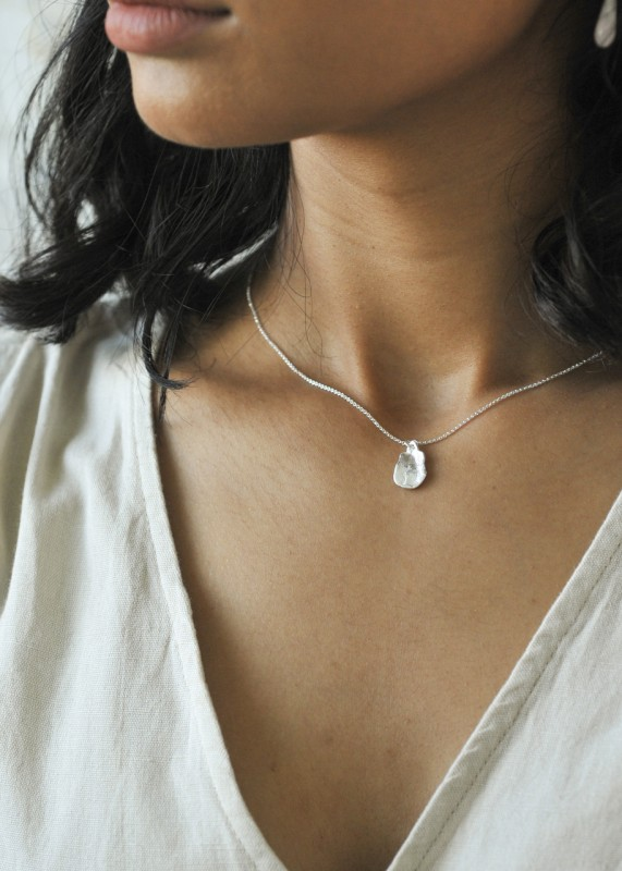 Wild Fawn Jewellery - Silver Small Organic Medallion Necklace 45cm