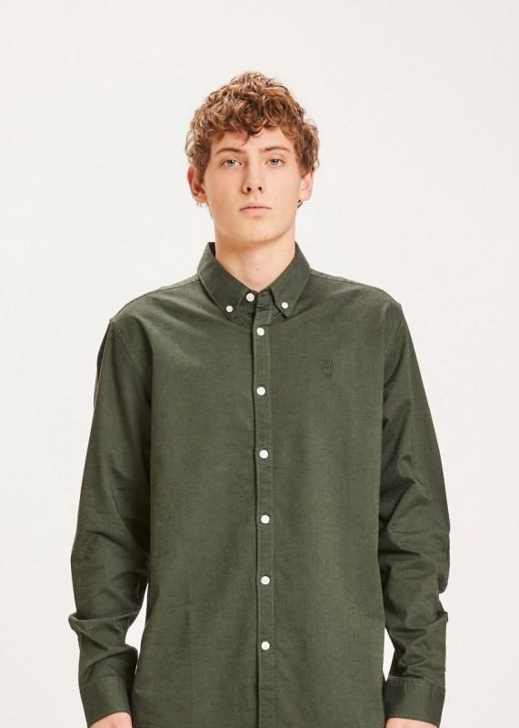 ELDER regular fit small owl oxford shirt - GOTS/Vegan, green forest