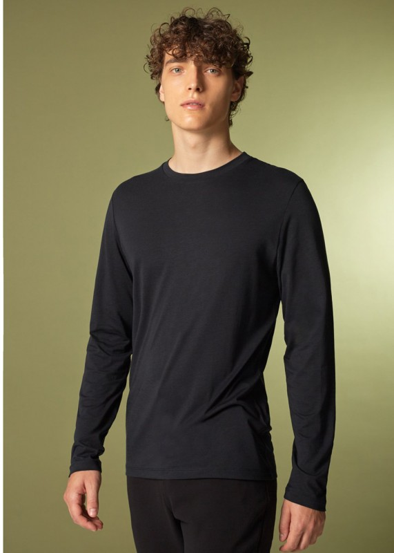 Funktionsschnitt / CORE - Bio Langarmshirt aus Tencel, black