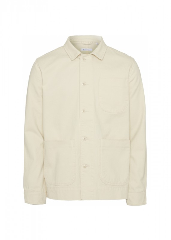 Knowledge Cotton Apparel - PINE Heavy Twill Overshirt, winter white