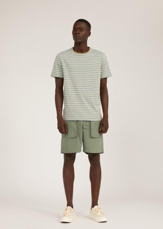 JAAGO STRIPES T-Shirt aus Biobaumwolle, dark cornflower-khaki dust-off white