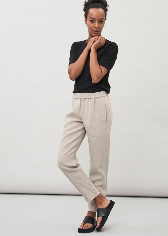 DORA - elastic waist linen trousers