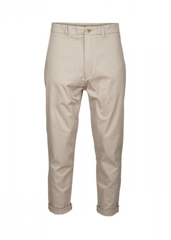 Knowledge Cotton Apparel Cropped Chino creme