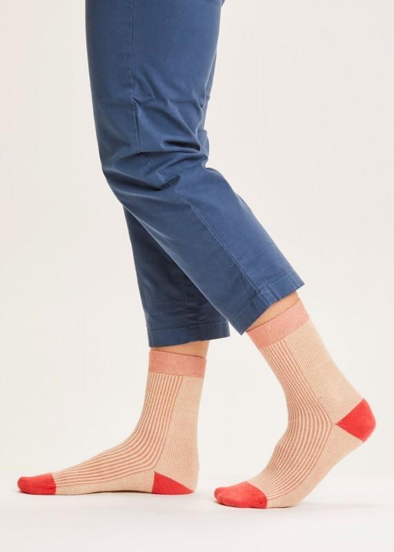 DIANE colorblock rib socks - GOTS/Vegan, terra cotta