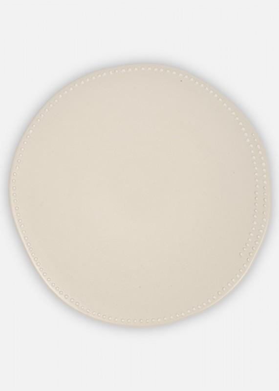 Teller mit Weißen Punkten, Klein, 22cm