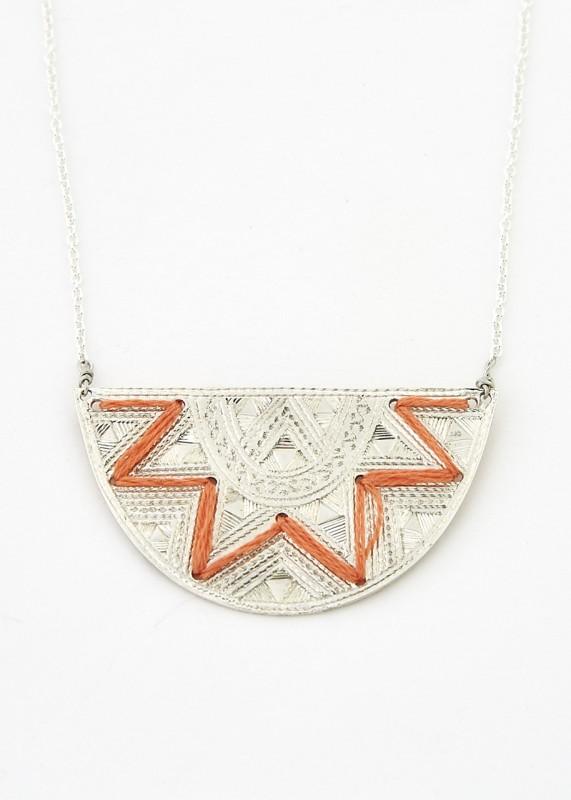 Halskette Halbmond, Silber bestickt